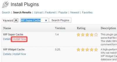Instalar Plugin WP Super Cache