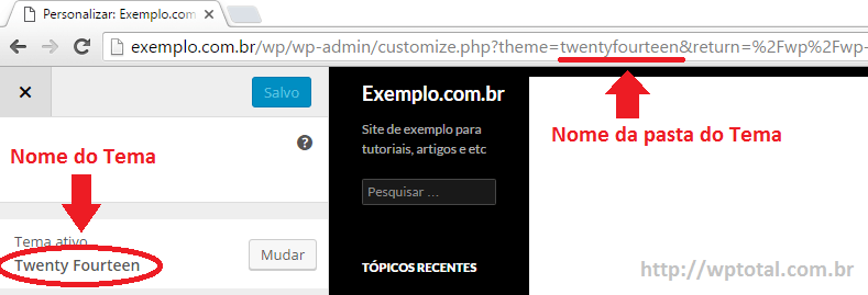 nome do tema wordpress